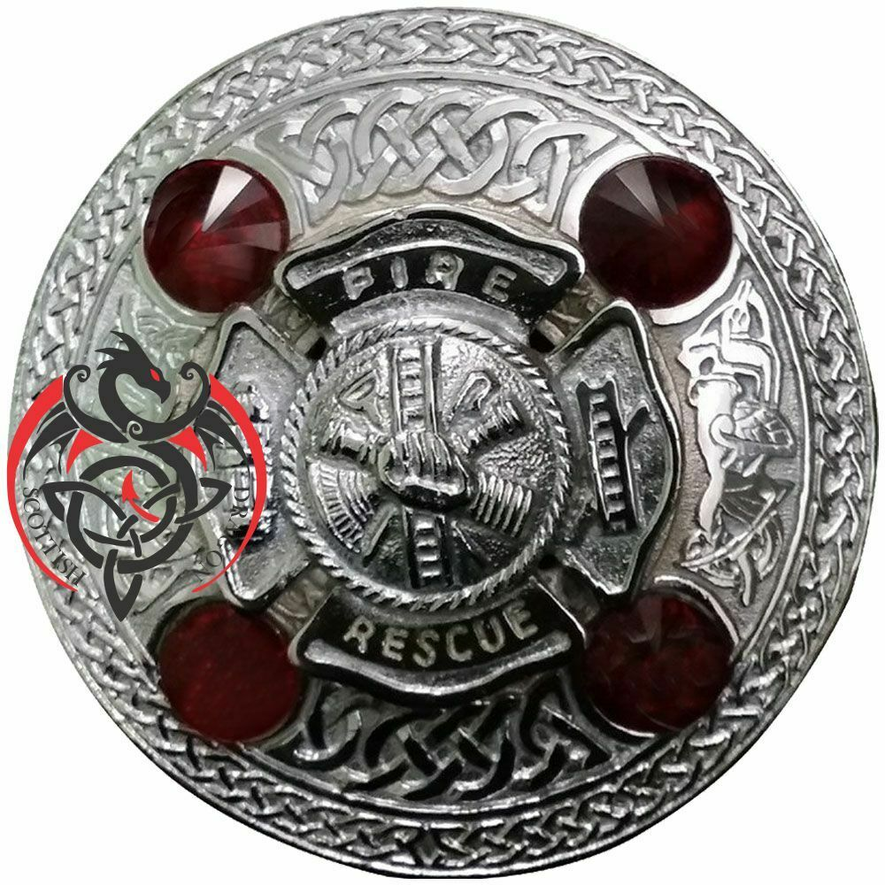 Scottish Kilt Fly Plaid Brooch Fire Rescue Red Stone Chrome Celtic Pin Brooches