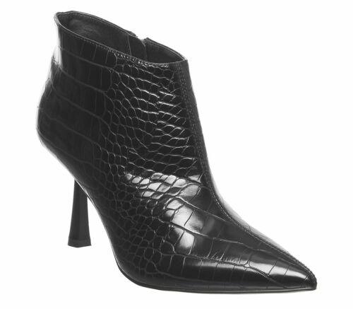Womens Office Members Only Shoeboot Black Croc Pu Heels