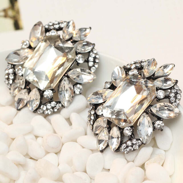 """gorgeous Lady Statement clear crystal long Ear Studs earrings hot 1 1/2"""" e306"""