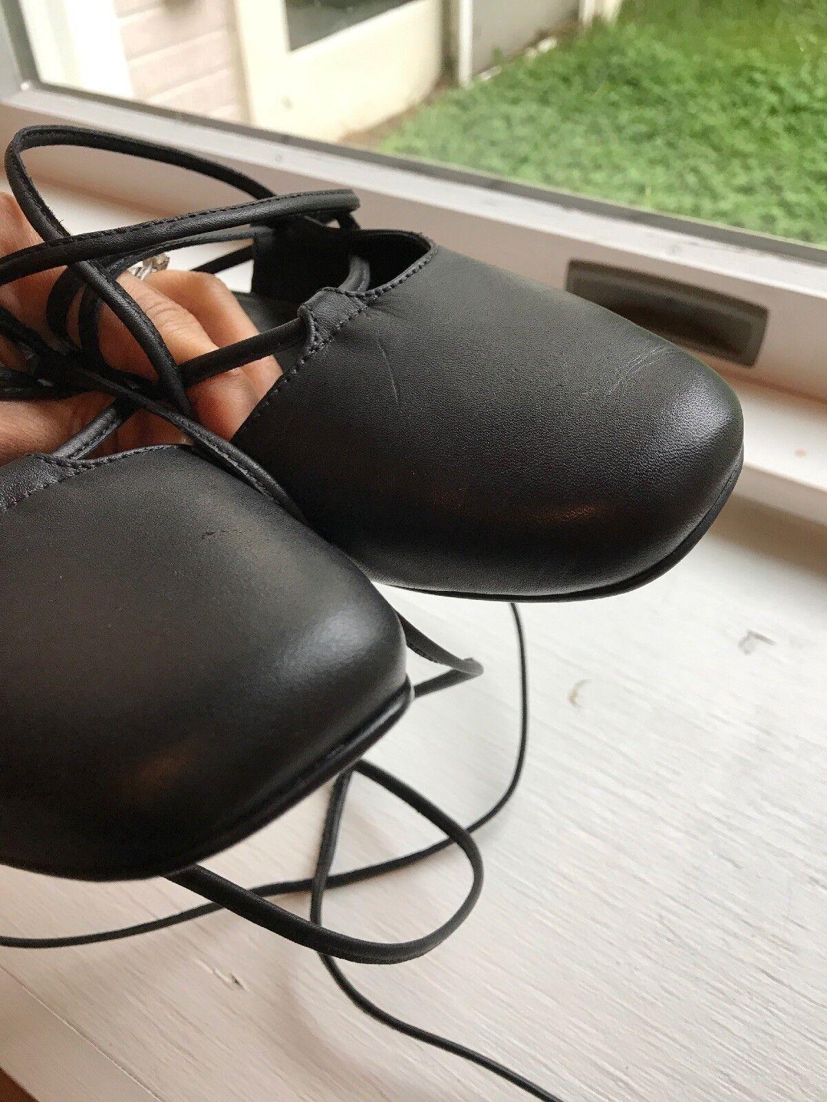 Tibi Lace up Ballerina Flats, Sz 35 Black Black Black Leather NWOB 2658a8