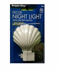 Shell Style Decor Night Light, White, With On/Off Switch & 7 Watt Bulb #883