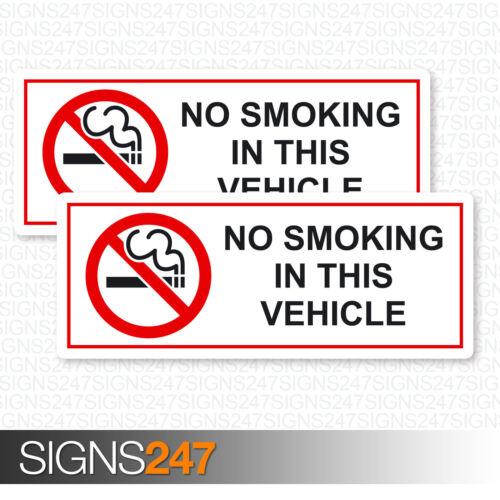 2x no fumar en vehículo Pegatinas-Impreso Pegatinas de Vinilo Coche Furgoneta Coche Taxi