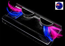 Long blue pink Costume Feather Exaggerated Party Fake False Eyelashes Eye lashes