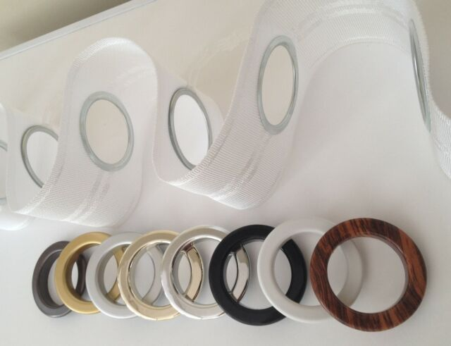 Eyelet Heading Curtain Tape and rings per metre, 8 choices of ring colour