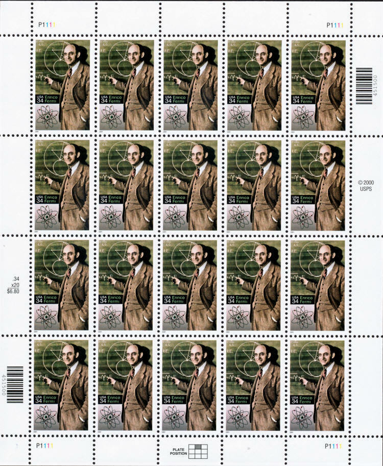 2001 34c Enrico Fermi, Physicist, Sheet of 20 Scott 353