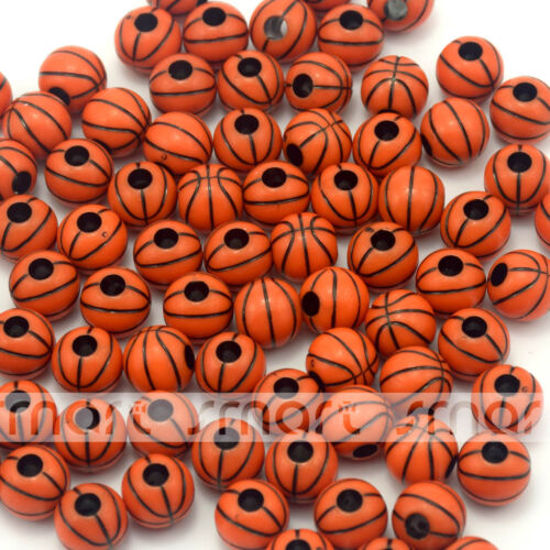100//500pcs Red Basketball Design Round Loose Acrylic Beads 11mm