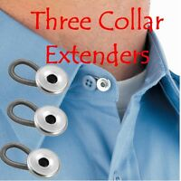 3 Collar Extenders Neck Shirt Expanders Buttons Add Comfort To Tight Shirts