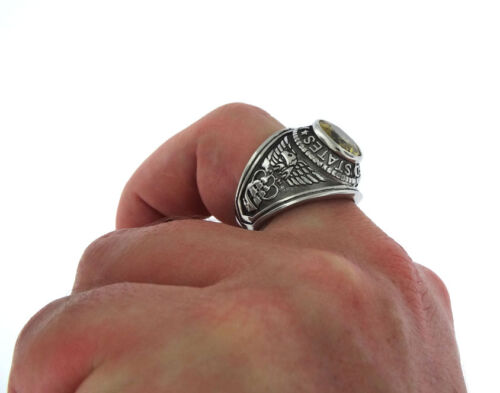Yellow Topaz US Navy Military Silver Stainless Steel Mens Ring