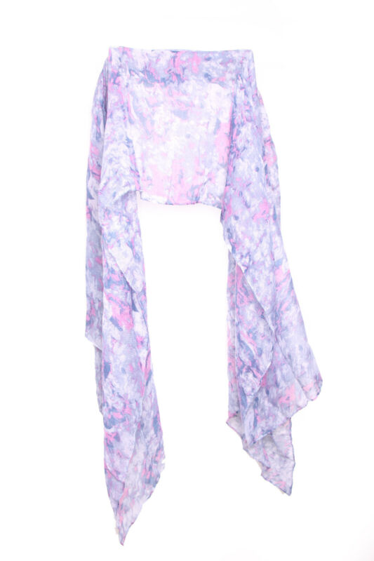 Blue Summer Scarf Pink Details Print Ladies Light Polyester Chic Accessory(s601)