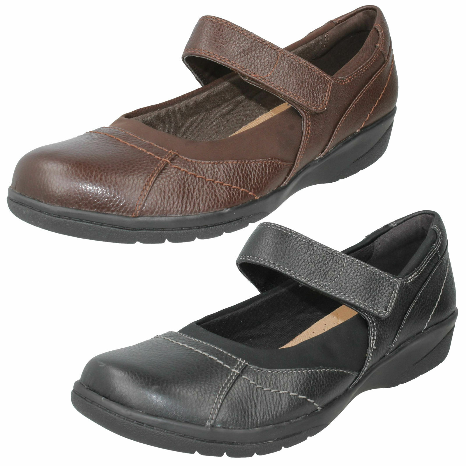 LADIES CLARKS LEATHER RIPTAPE WIDE CASUAL MARY JANE LOW WEDGE chaussures CHEYN WEB