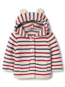 8fcae18ff Baby Gap Unisex Red Stripe Bear Hooded Button Garter Sweater ...