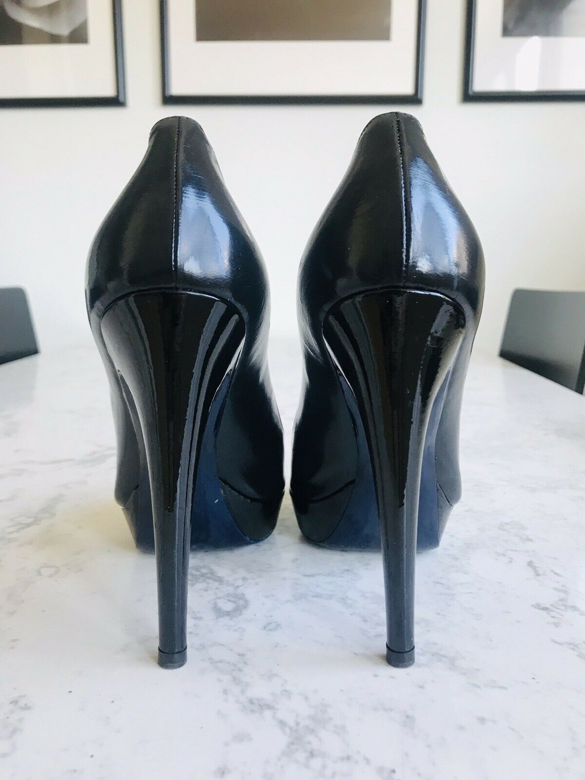 "Miu Miu Black Patent Leather Platform Pumps Heels shoes Sz 37.5   7 5"" Heel"