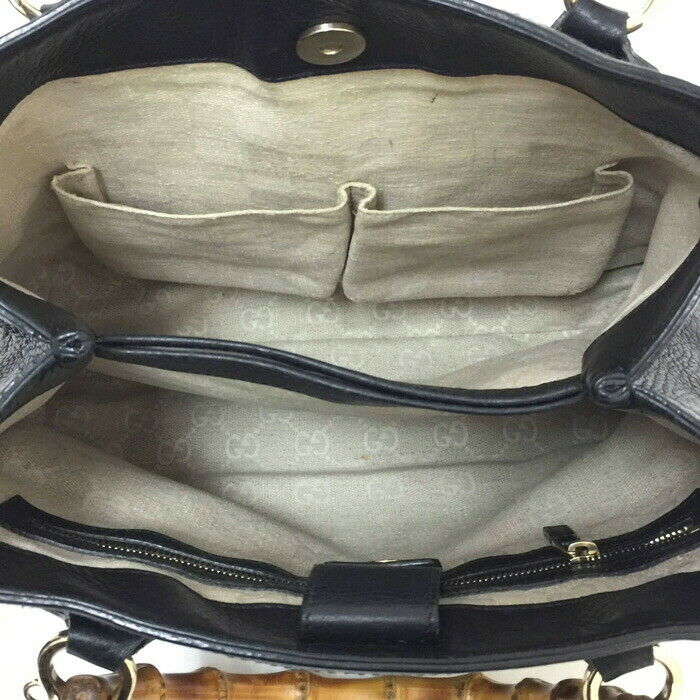 Auth GUCCI DIANA banboo Hand Bag 308360 Black - image 5