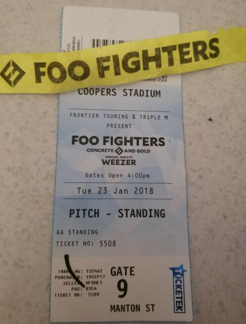 Foo Fighters Jan 2018 Concrete & Gold Weezer ticket and wristband Australia Tour