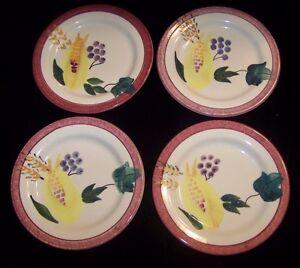 4-Hartstone-Harvest-Salad-Plates-Corn-Wheat-Grapes-Thanksgiving-Handpainted-Set