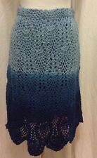 Boston Proper skirt XS light dark blue crochet lined straight scallop hem EUC