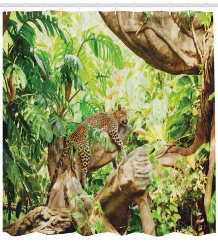 Leopard Duschvorhang Tropisches wildes Dschungel-Blatt