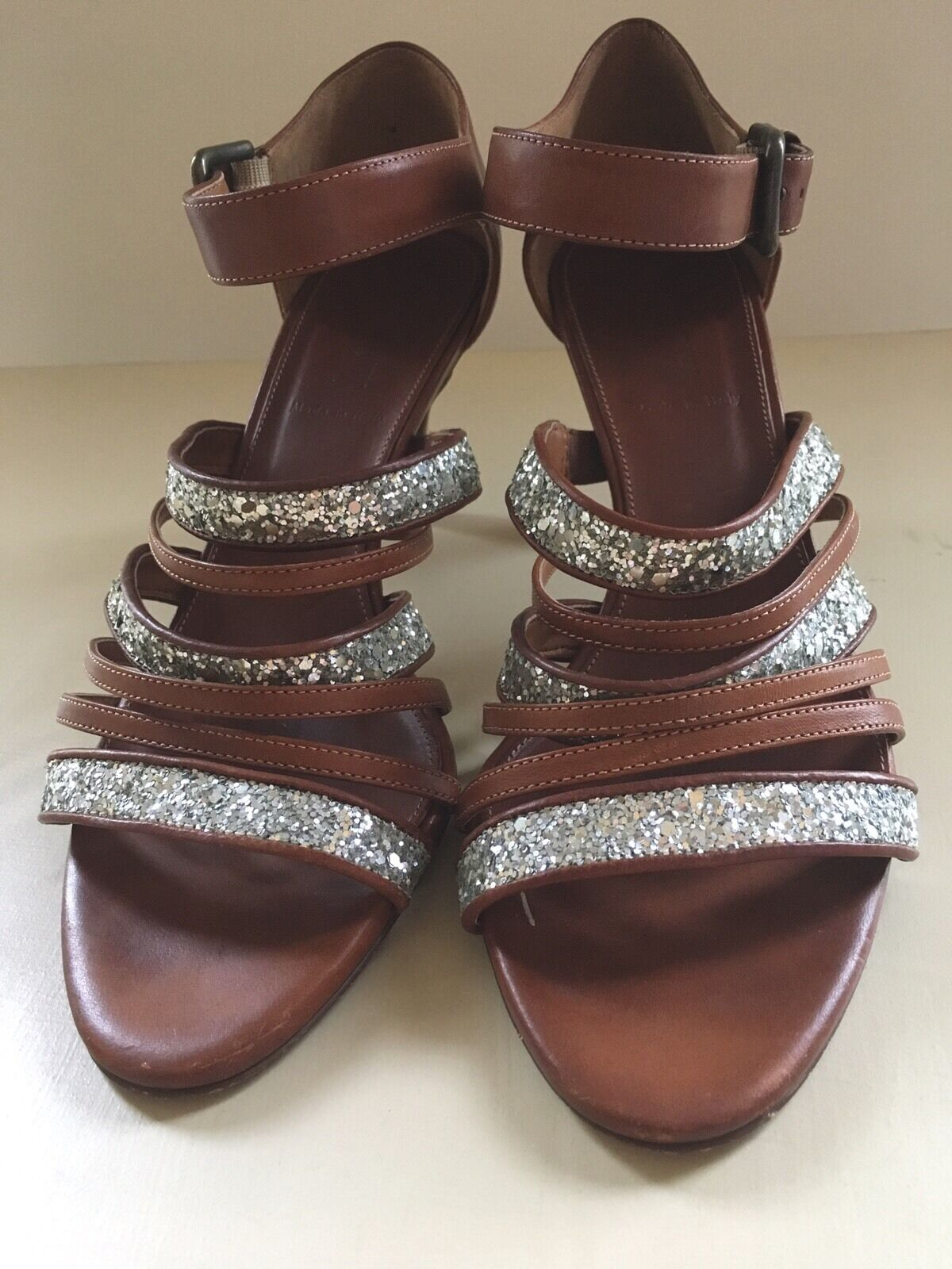 8.5 M J Crew Strappy Heels Brown Leather Glitter Sequins  shoes