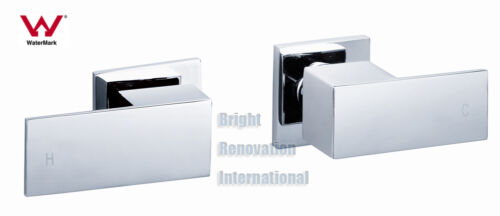 New Bathroom Square Cooby Wide Brass Chrome 1//4 Turn Shower//Bath Wall Tap Set
