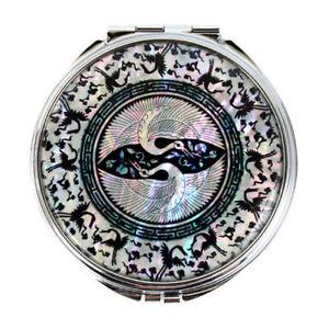 Mother-of-Pearl-Double-Bird-Design-Compact-Cosmetic-Makeup-Handbag-Beauty-Mirror