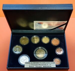 2005-ESPANA-ESTUCHE-PROOF-FNMT-9-MONEDAS-Cartera-Euros-Set-Spain-KMS-Coffret