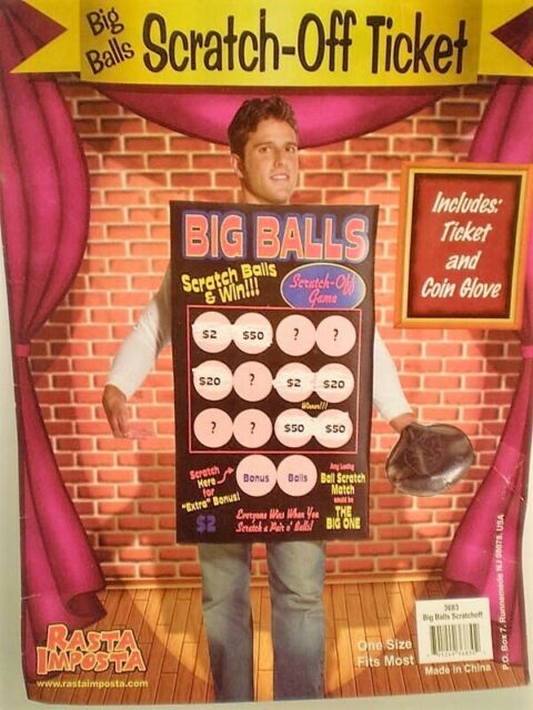 Big Balls Scratch-off Ticket Funny Costume Lottery Scratch Card Adult One Size