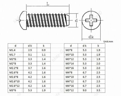 Blechschrauben Linsenkopf Innensechskant ISK 8.8 Carbon Stahl schwarz M2 M2.6