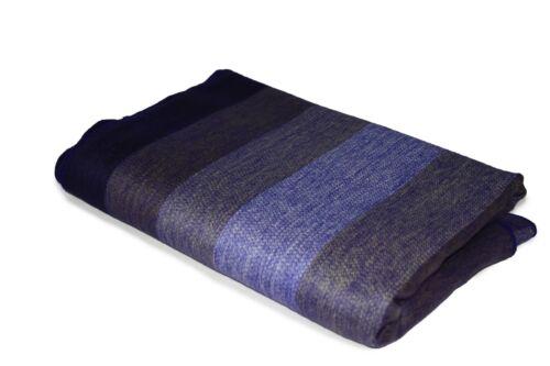 Purple Hue Thick Stripe HANDMADE ALPACA WOOL BLANKET LARGE SOFT WARM THROWS