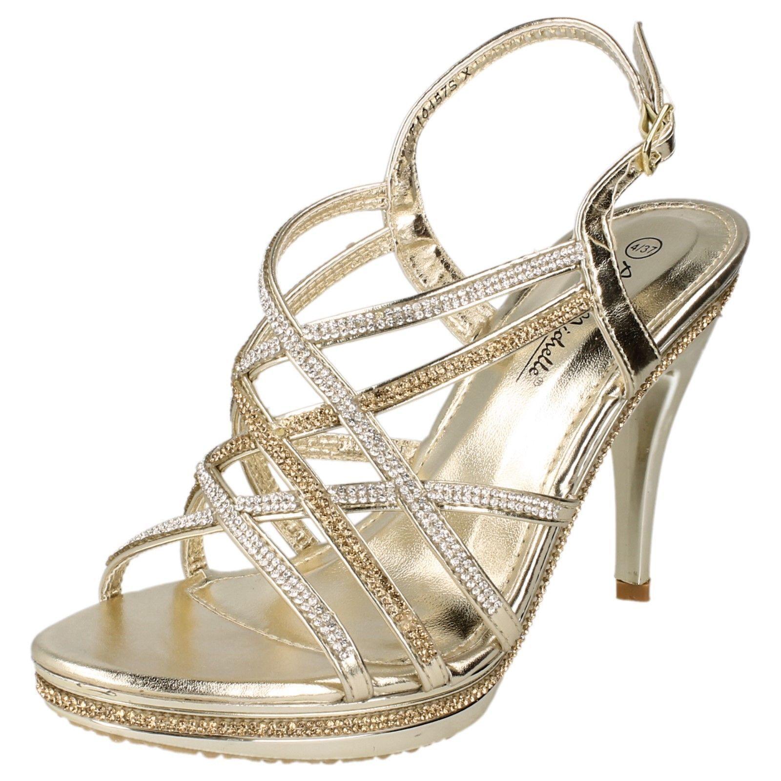 LADIES ANNE MICHELLE GOLD DIAMANTE SANDALS HIGH HEEL EVENING WEDDING SANDALS DIAMANTE SIZE F10457 5ffd3c