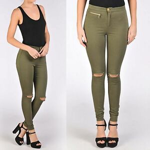 LADIES KHAKI RIP KNEE SKINNY ZIP HIGH WAISTED JEANS DENIM WOMENS ...