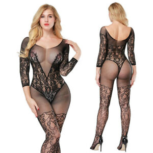 519bc289a Image is loading Sexy -Lingerie-Open-Crotch-Fishnet-Bodystocking-Transparent-Bodysuit-