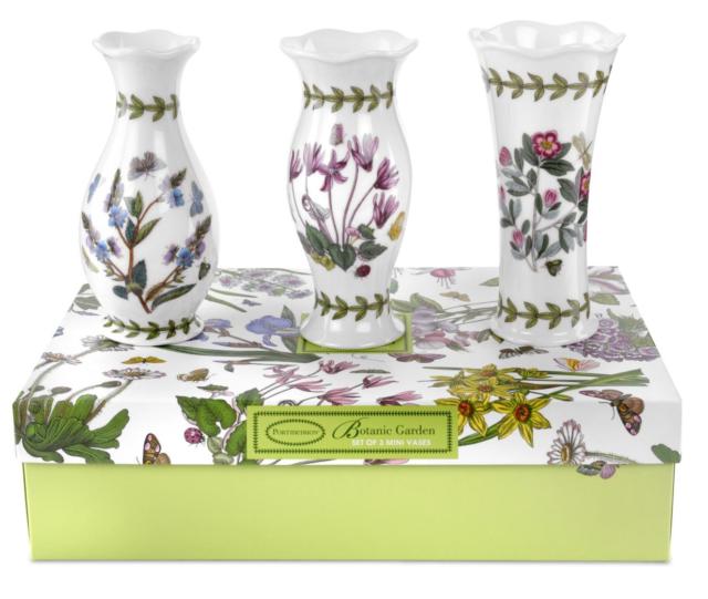 Portmeirion Botanic Garden Set Of 3 Mini Vases Ebay