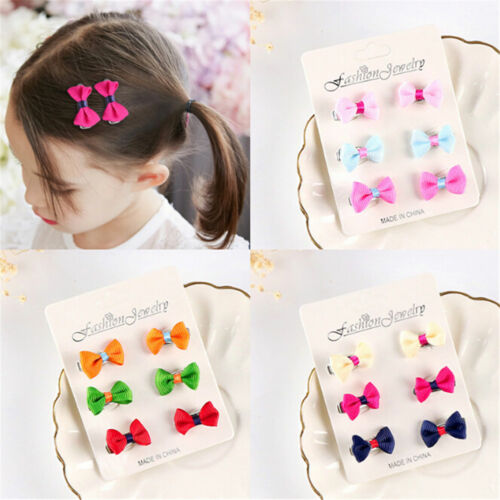 6Pcs Kids Baby Girls Toddler Mini Barrettes Candy Color Hair Clip Bow Hairpin VH