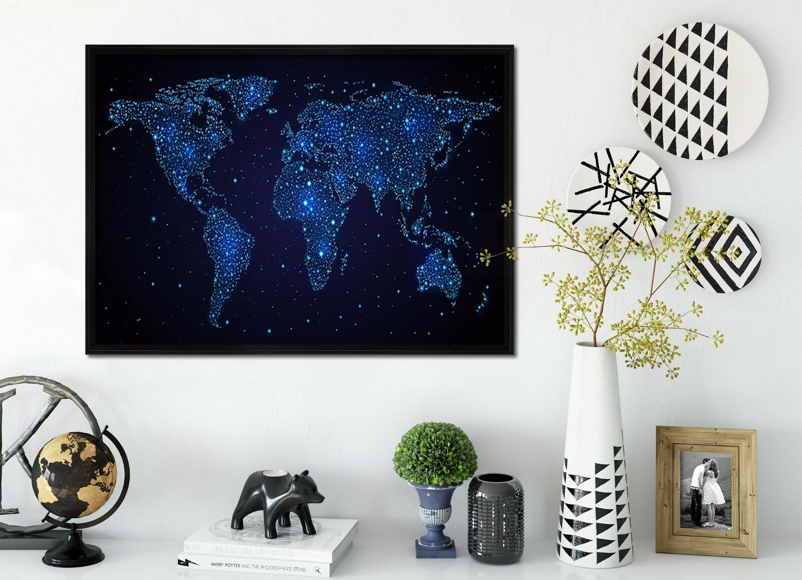 3D Starry World Map 2 Framed Poster Home Decor Print Painting Art AJ WALLPAPER