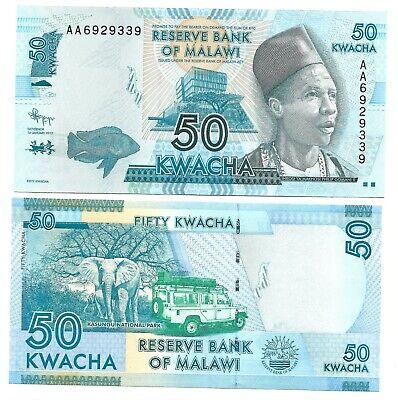 NEW ISSUE 50 KWACHA UNC BANKNOTE 2012 YEAR MALAWI