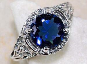 6.5CT Emerald Sapphire Flower Bird 925 Silver Ring Wedding Engagement Size 6-10