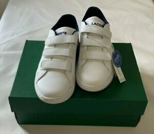 Lacoste Carnaby Evo 116 Leather White/Navy Kids Shoes Size 2-2.5 New With Box