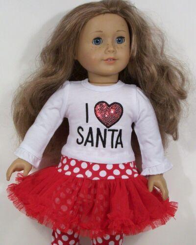 "Debs I Love Santa Top Leggings w//Tutu Skirt Doll Clothes For 18/"" American Girl"