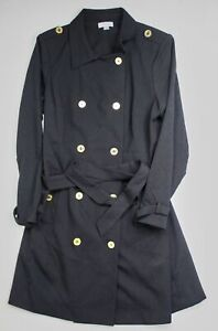 Calvin Klein Womens Size 16 Black Double Breasted Belted Coat