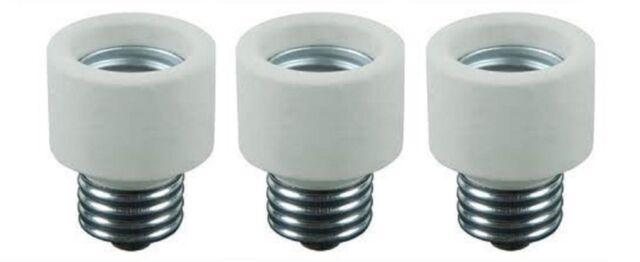 Pack Of 3 Medium Base To Medium Base Light Bulb Socket Porcelain Extender / E...
