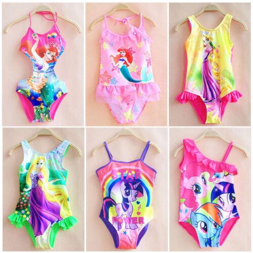 Girls Kids Character Swimwear Swimming Costume Swimsuit Bikini Monokini 2-10 Y