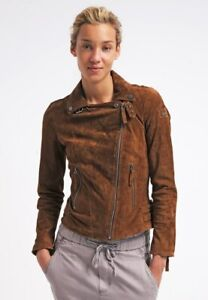 Womens Suede Leather Jacket Brown Biker Motorcycle Pure Size S M L XL XXL 3XL