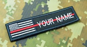 Text Tag Patch Thin Red Line Canada Flag Personalized Embroidered Name