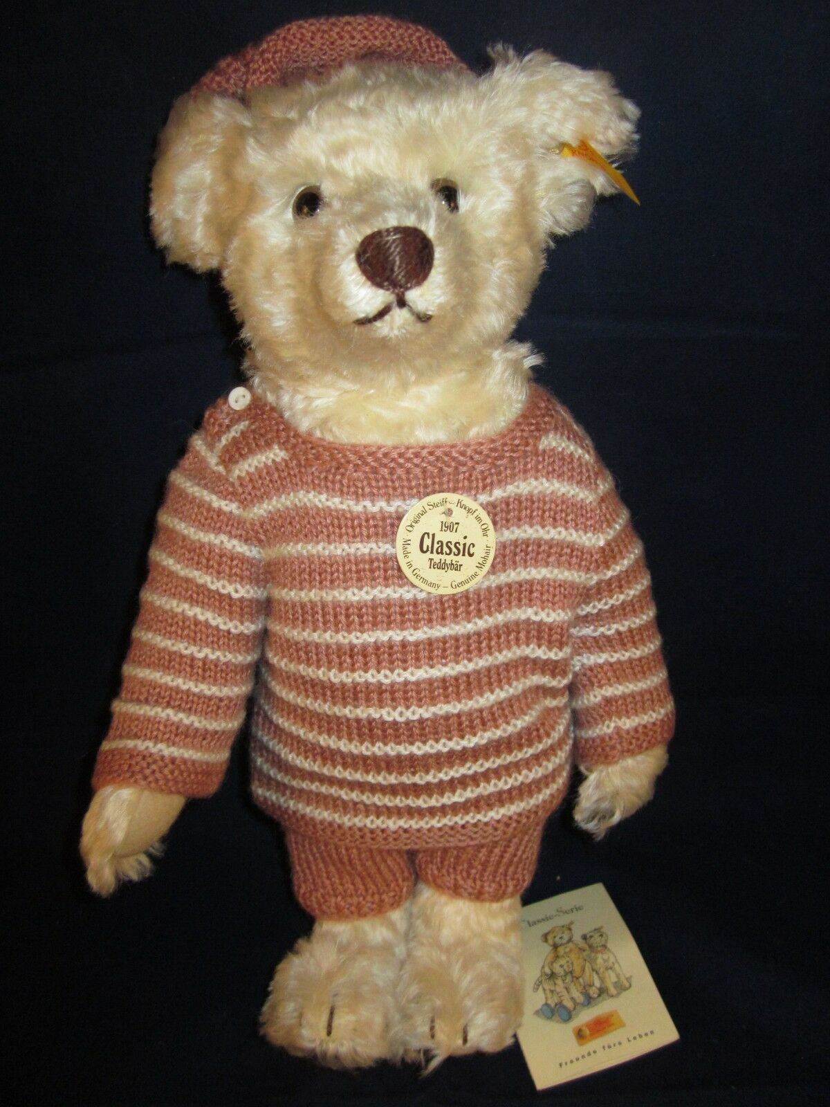 STEIFF Classic 1907 Teddy Bear Rose Pink Sweater ~ NEW with TAG