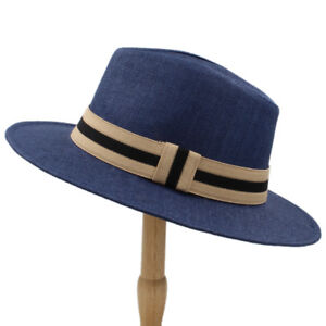 Men Women Straw Panama Hat Fedora Trilby Cap Sunhat Wide Brim ... 569bb2b48449
