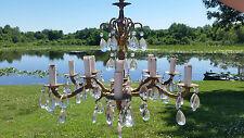 Vintage Ornate Brass 6 Arm 12 Light Chandelier, Crystals