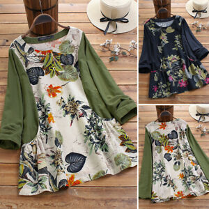 ZANZEA-UK-Womens-O-Neck-Long-Sleeve-Floral-Printed-Shirt-Casual-Loose-Top-Blouse