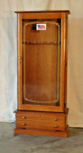Details About 8 Gun Oak Gun Cabinet Locking Fully Assembled USA Made By  Scout Products LLC