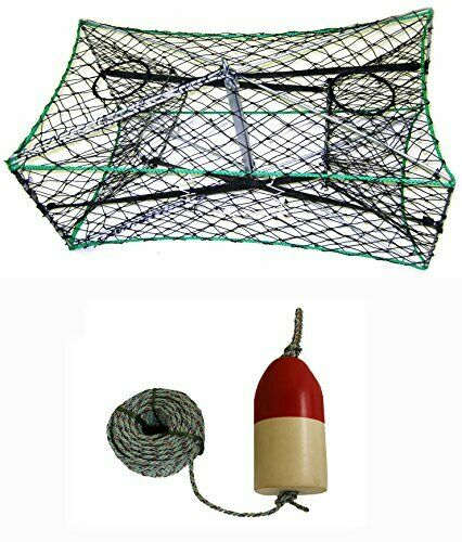 KUFA Galvanized Foldable Crab Trap, 5 16  x 100' Lead Rope & Float (S33+FWL100)