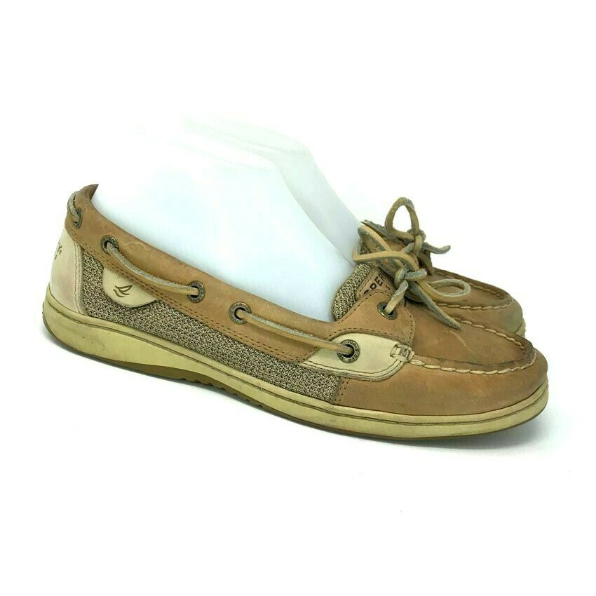 Sperry Top Sider Womens Angelfish 9102047 Tan Leather Slip On Boat Shoes Sz 8 M